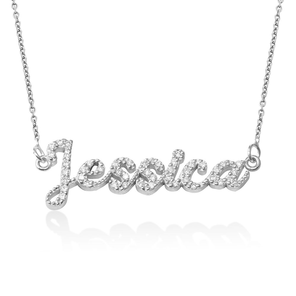 Pave Diamond Name Necklace - sterling silver