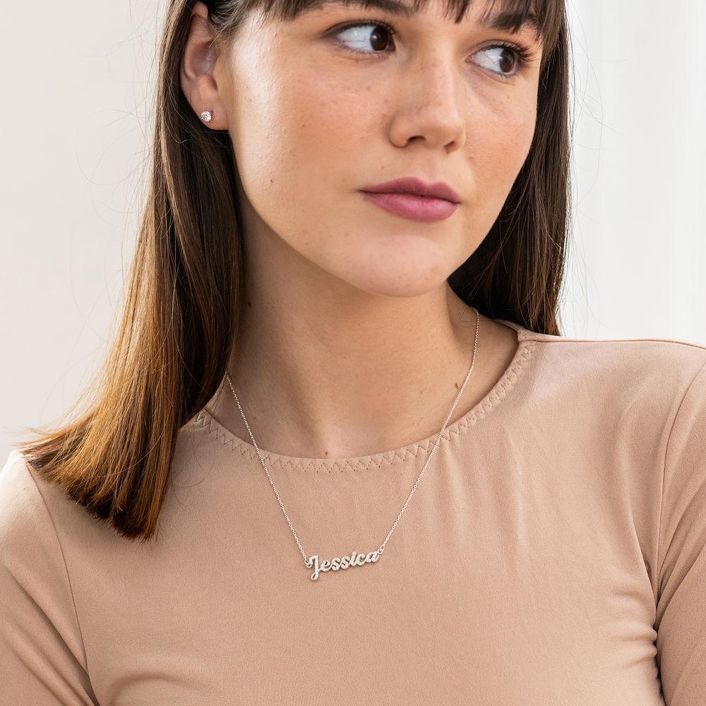 Pave Diamond Name Necklace - sterling silver - 1