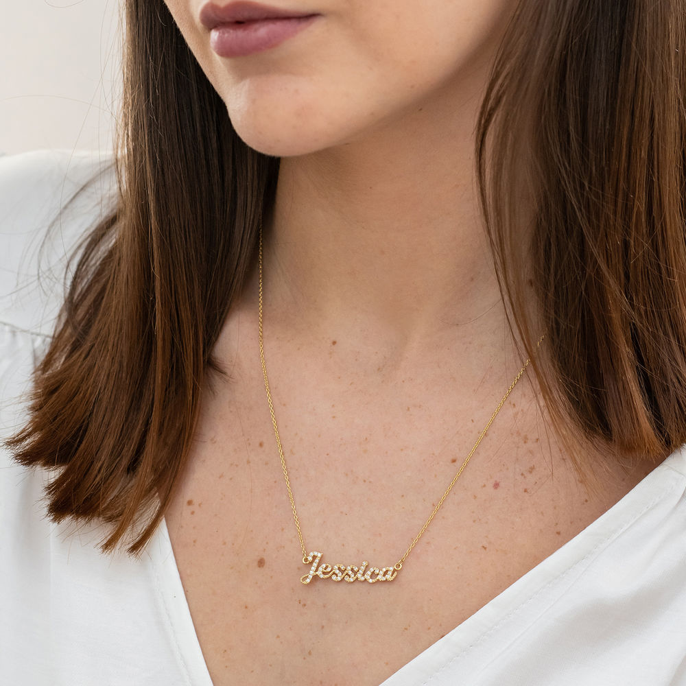 Pave Diamond Name Necklace- 14k solid gold - 3