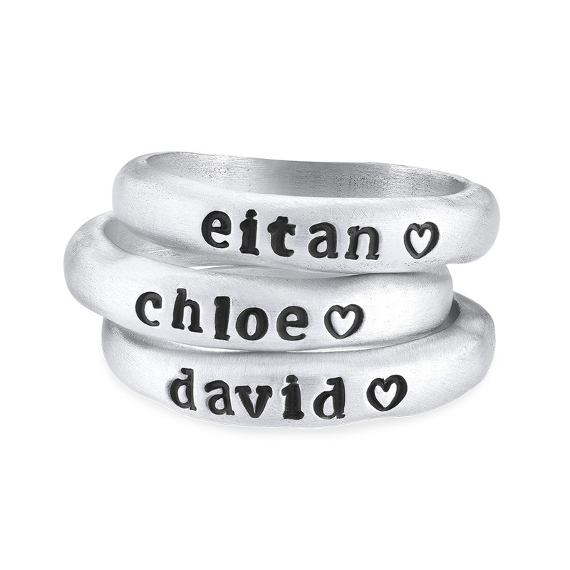 Stackable Engraved Ring with Names in Sterling Silver - 2