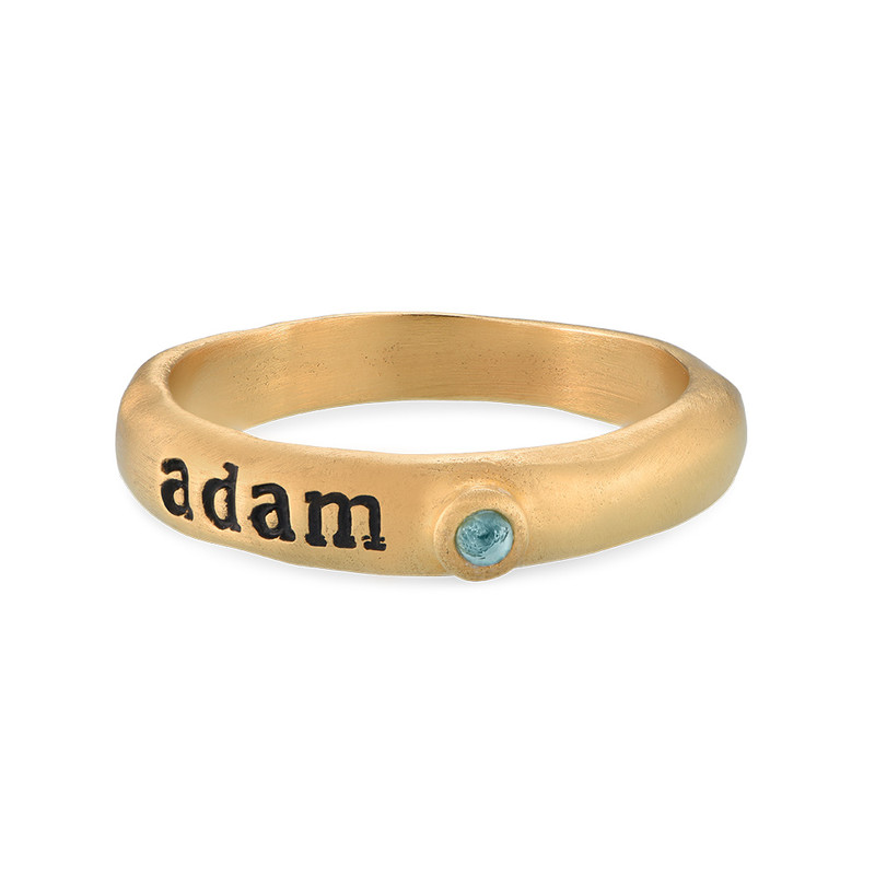 Stackable Engraved Ring with Birthstone in Gold Plating