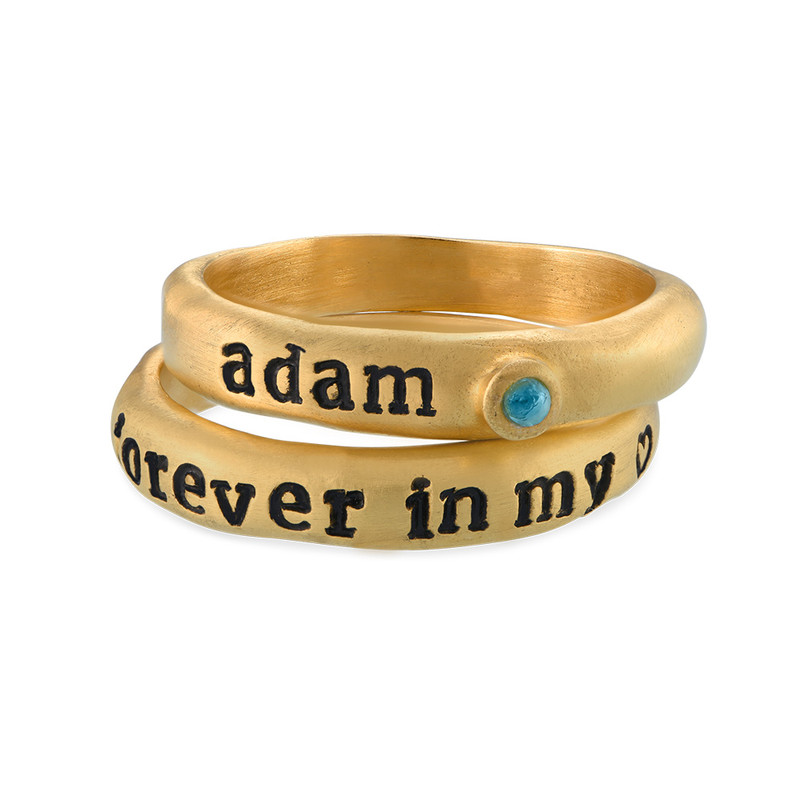 Stackable Engraved Ring with Birthstone in Gold Plating - 1