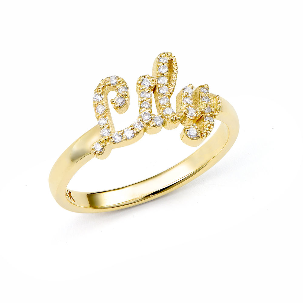 Pave Name Ring with Cubic Zirconia in 14k Solid Gold