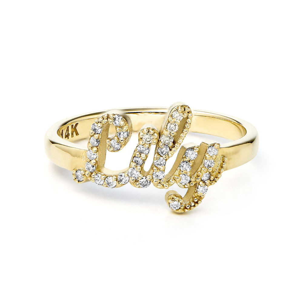 Pave Name Ring with Cubic Zirconia - 14k solid gold - 1