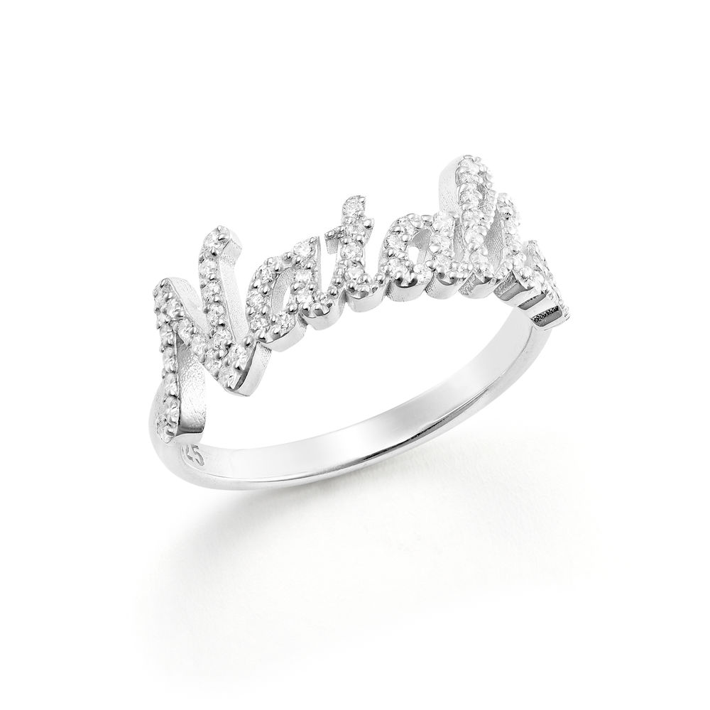 Pave Name Ring with Cubic Zirconia  - sterling silver