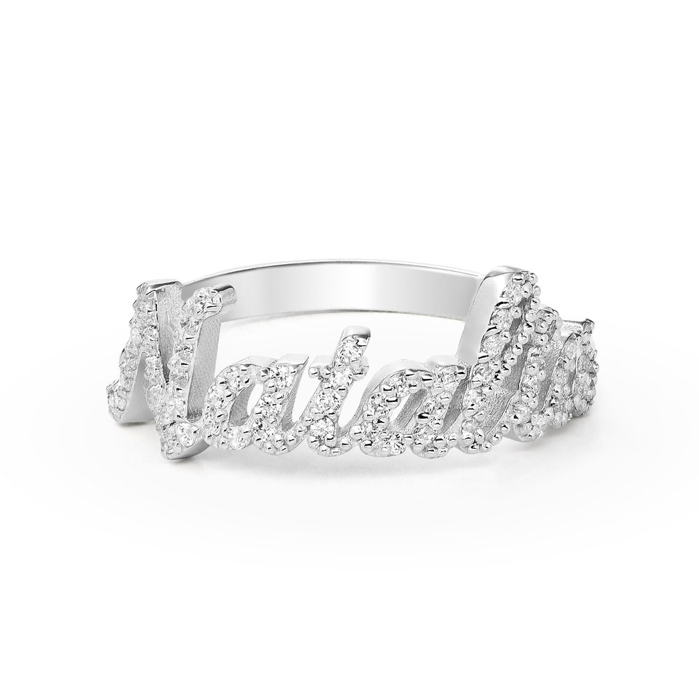 Pave Name Ring with Cubic Zirconia  - sterling silver  - 1