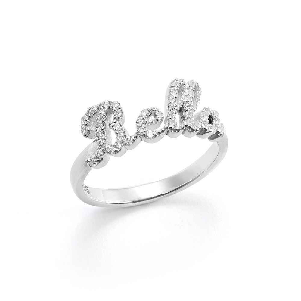 Pave Diamond Name Ring  - sterling silver
