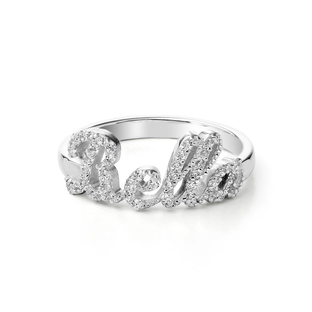 Pave Diamond Name Ring  - sterling silver - 1