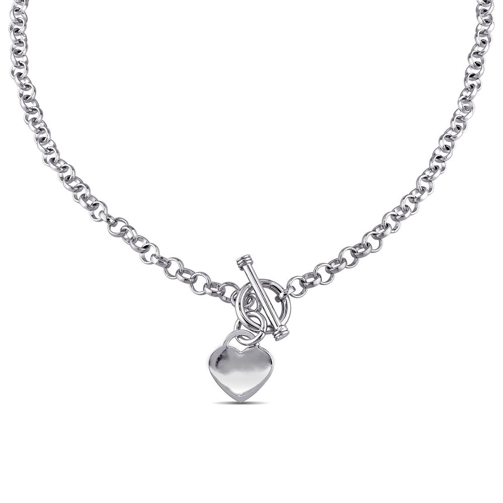 Oval Link Necklace with Sterling Silver Heart Charms & Toggle Clasp