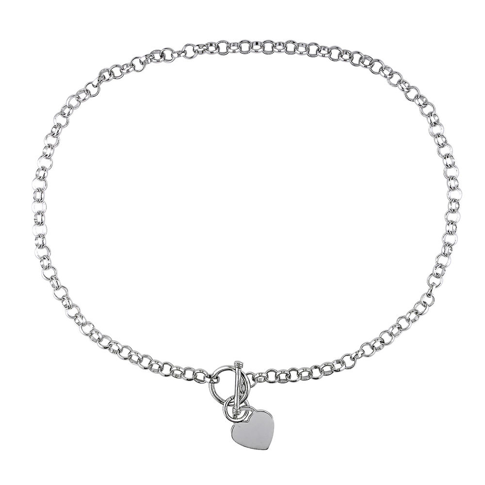 Oval Link Necklace with Sterling Silver Heart Charms & Toggle Clasp - 1