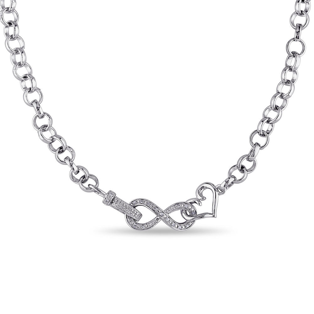 1/10 CT. T.W. Diamond Forever Love Necklace in Sterling Silver
