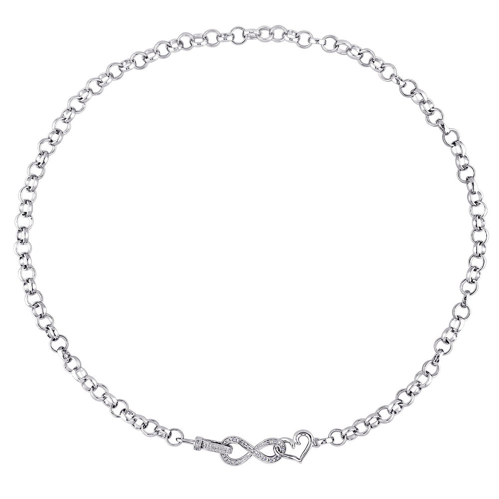 1/10 CT. T.W. Diamond Forever Love Necklace in Sterling Silver - 1