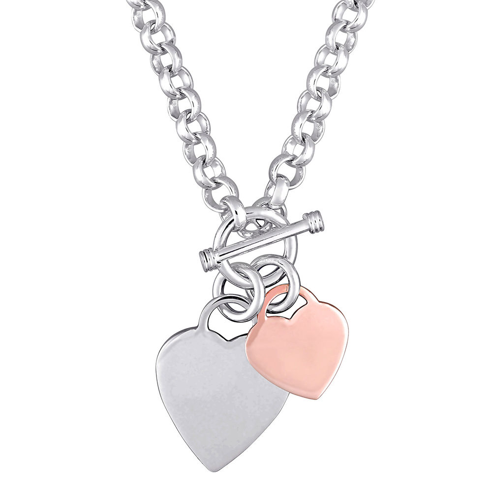 Oval Link Necklace with Sterling Silver and Rose Gold Plated Heart Charms & Toggle Clasp