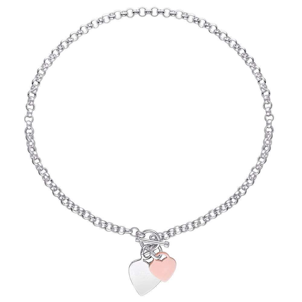 Oval Link Necklace with Sterling Silver and Rose Gold Plated Heart Charms & Toggle Clasp - 1