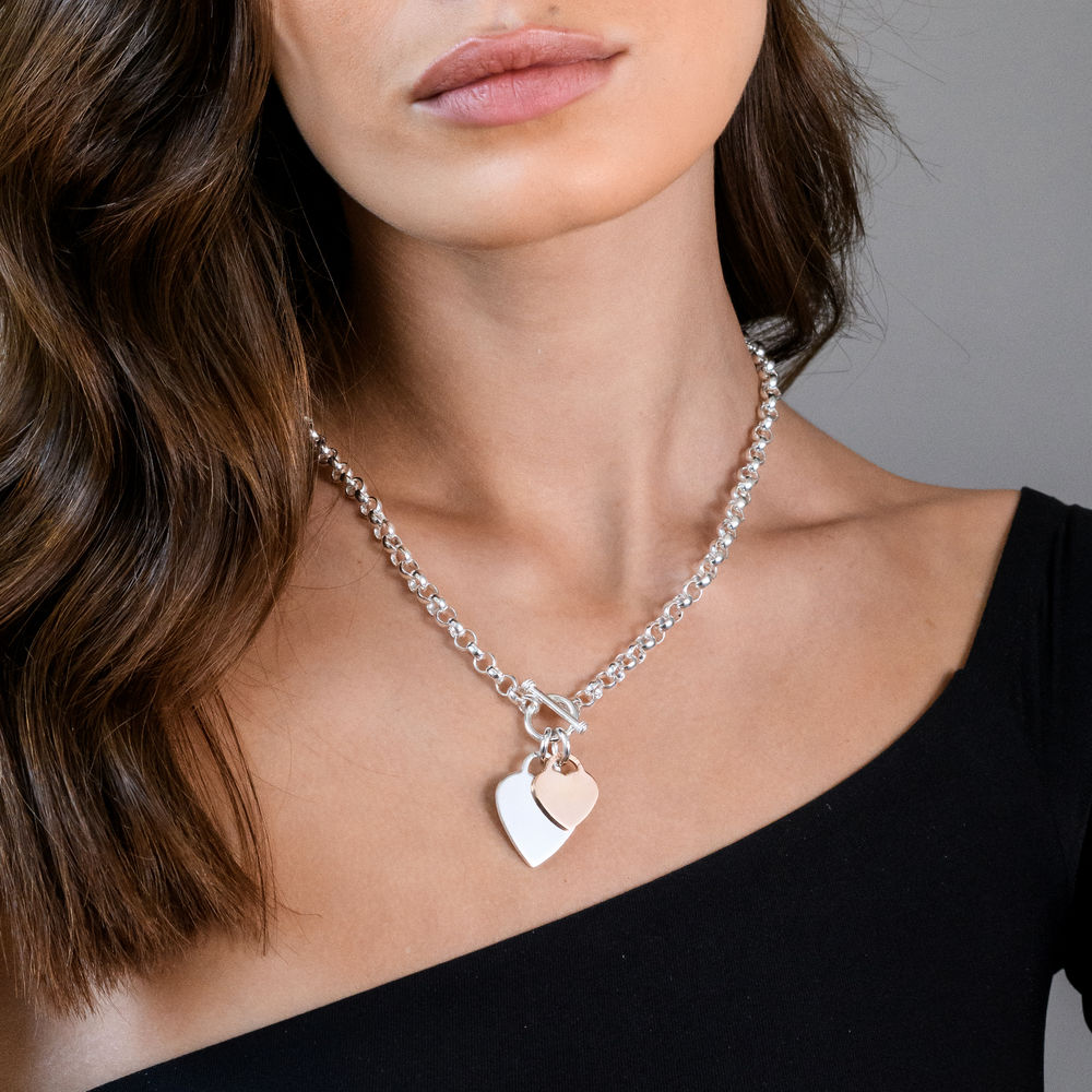 Oval Link Necklace with Sterling Silver and Rose Gold Plated Heart Charms & Toggle Clasp - 2