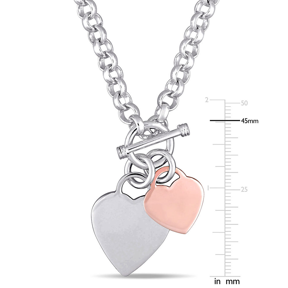 Oval Link Necklace with Sterling Silver and Rose Gold Plated Heart Charms & Toggle Clasp - 4