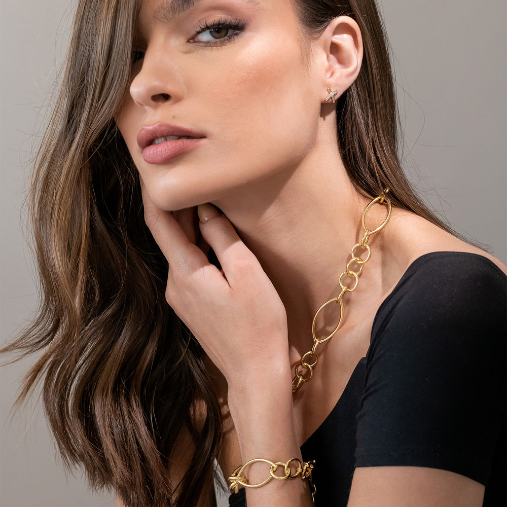 Fancy Link Necklace in Gold Plated Sterling Silver with Big Stylish Spring Ring Clasp - 2