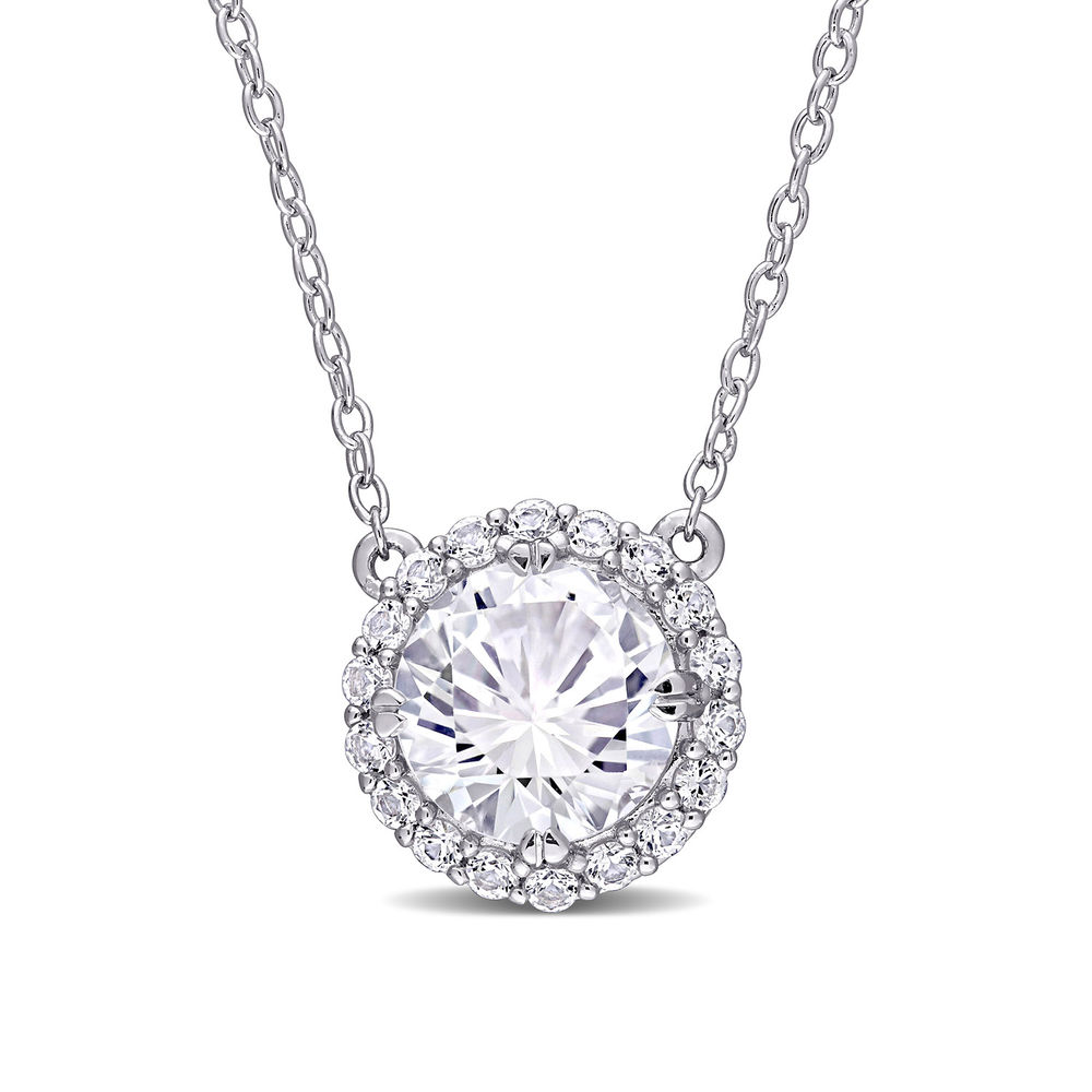 8.0mm Lab-Created White Sapphire Frame Necklace in Sterling Silver