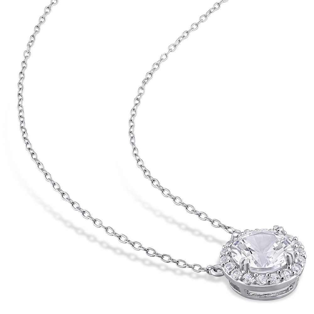8.0mm Lab-Created White Sapphire Frame Necklace in Sterling Silver - 1