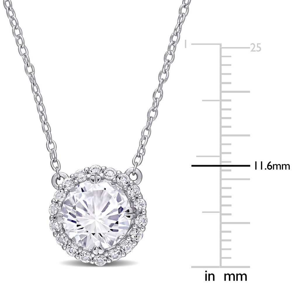 8.0mm Lab-Created White Sapphire Frame Necklace in Sterling Silver - 4