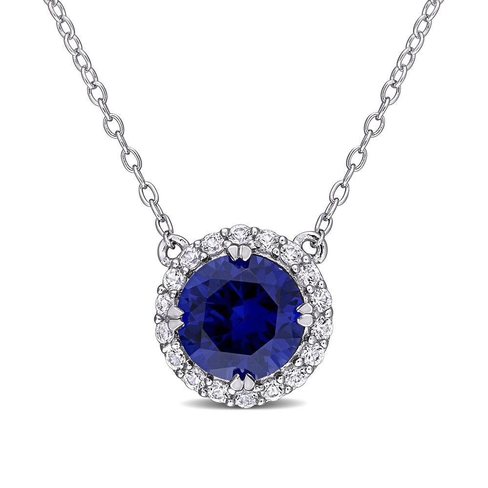 8.0mm Lab-Created Blue and White Sapphires Frame Necklace in Sterling Silver