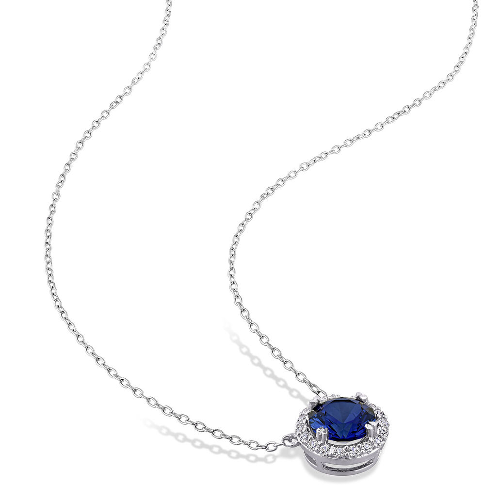 8.0mm Lab-Created Blue and White Sapphires Frame Necklace in Sterling Silver - 1