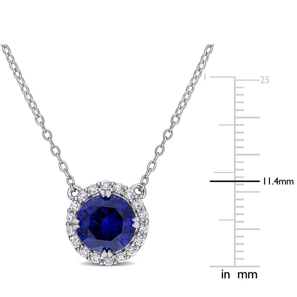 8.0mm Lab-Created Blue and White Sapphires Frame Necklace in Sterling Silver - 4