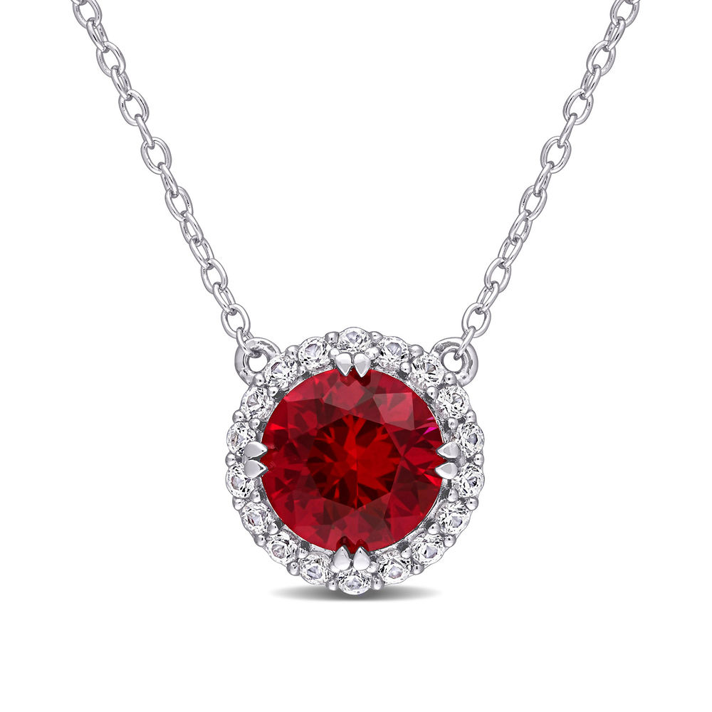 8.0mm Lab-Created Ruby and White Sapphire Frame Necklace in Sterling Silver