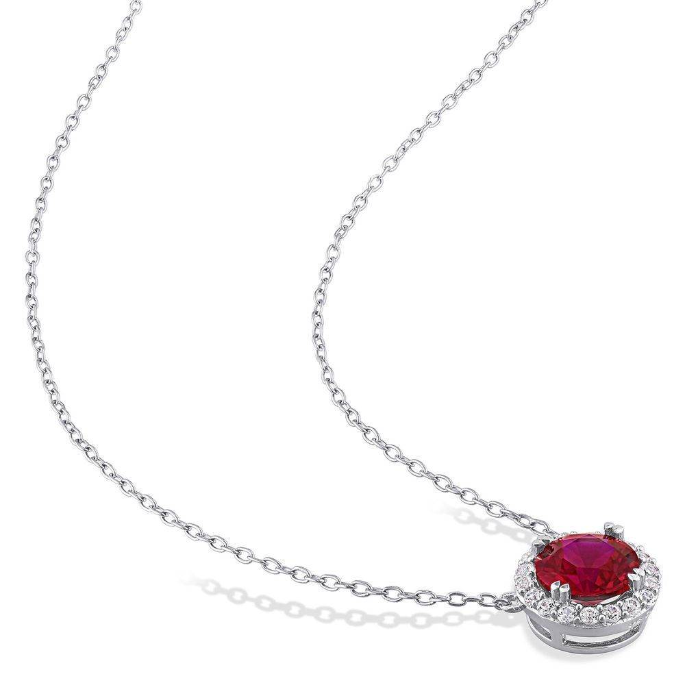 8.0mm Lab-Created Ruby and White Sapphire Frame Necklace in Sterling Silver - 1