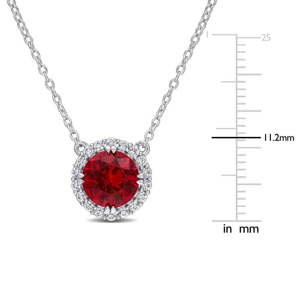 8.0mm Lab-Created Ruby and White Sapphire Frame Necklace in Sterling Silver - 4