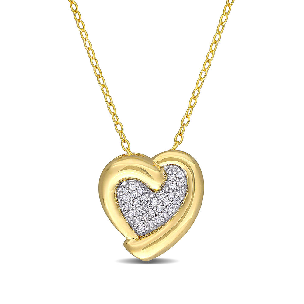 1/6 CT. T.W. Diamond Heart Necklace in Gold Plated Sterling Silver