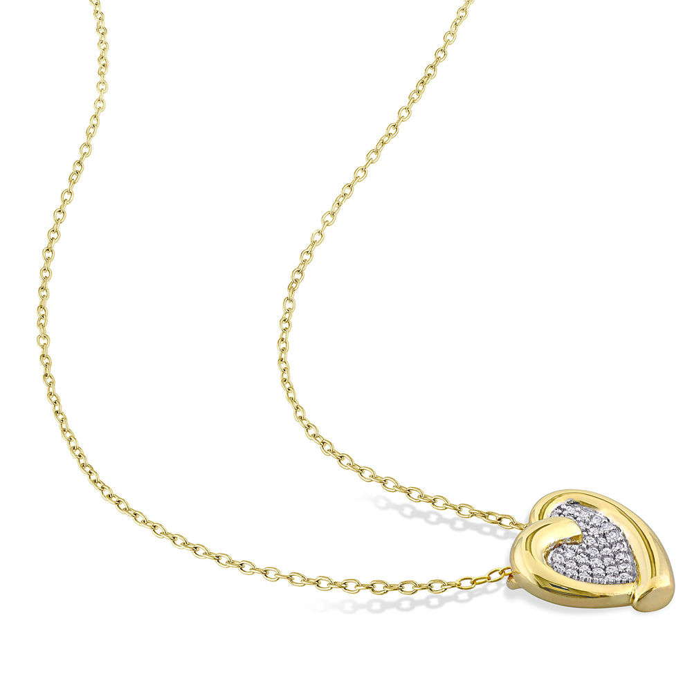 1/6 CT. T.W. Diamond Heart Necklace in Gold Plated Sterling Silver - 1