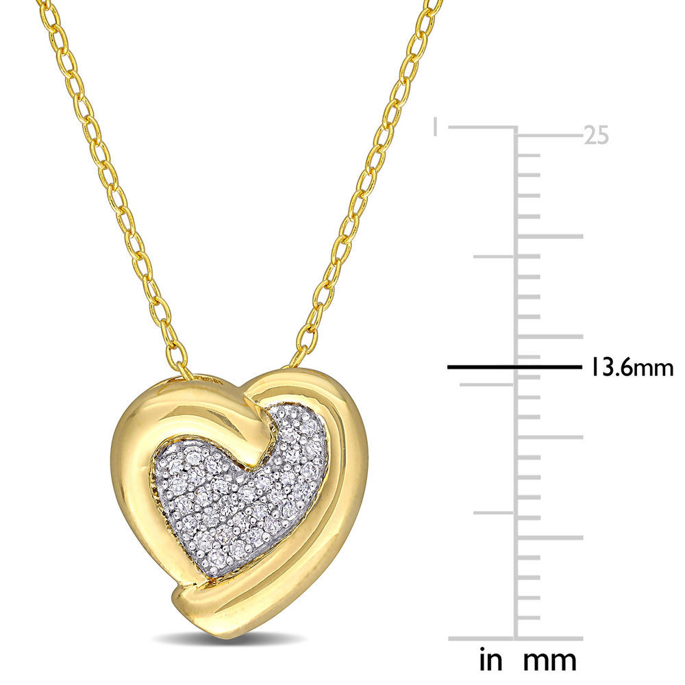 1/6 CT. T.W. Diamond Heart Necklace in Gold Plated Sterling Silver - 4