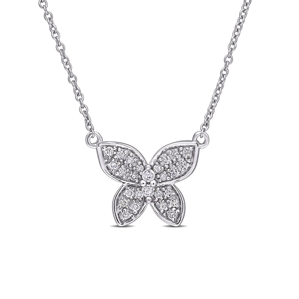 1/8 CT. T.W. Diamond Butterfly Necklace in 10k White Gold
