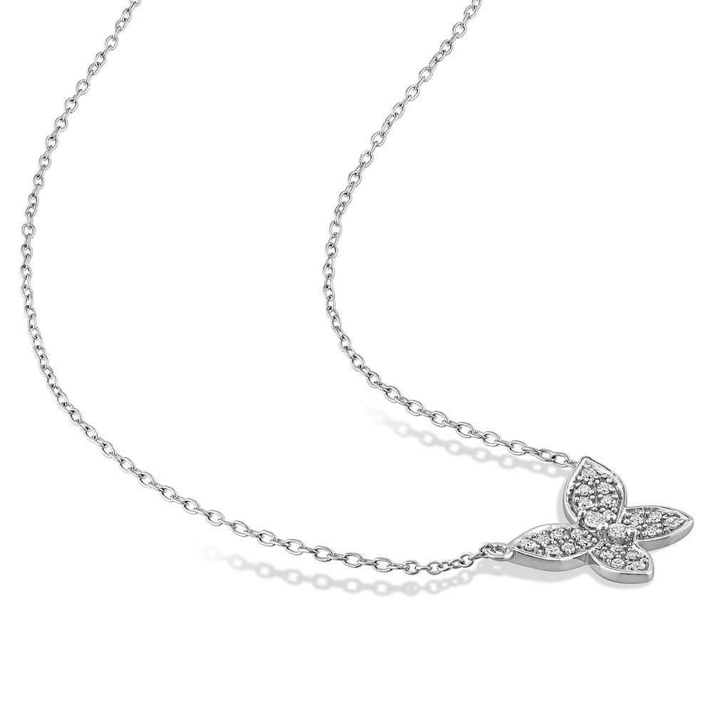 1/8 CT. T.W. Diamond Butterfly Necklace in 10k White Gold - 1