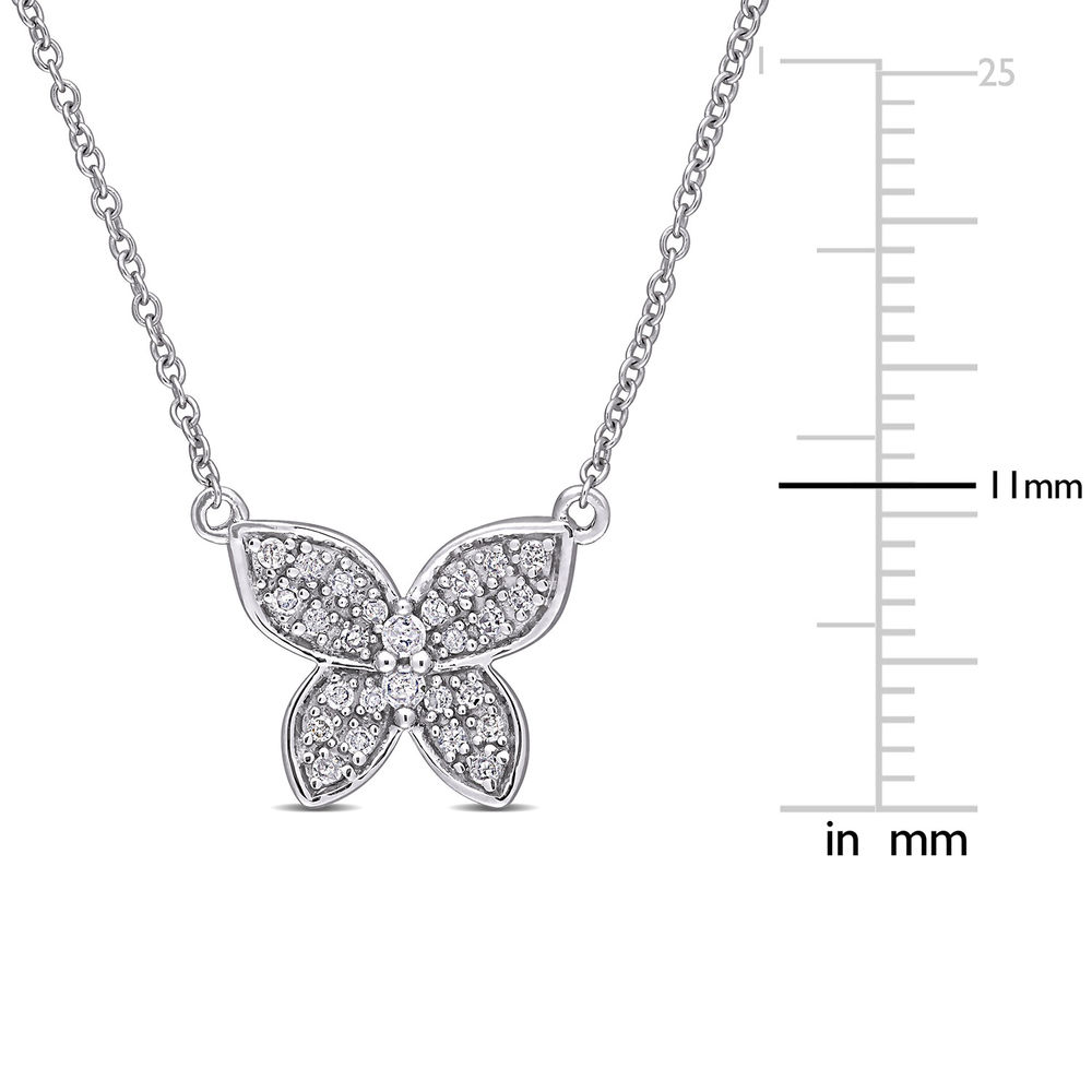 1/8 CT. T.W. Diamond Butterfly Necklace in 10k White Gold - 4