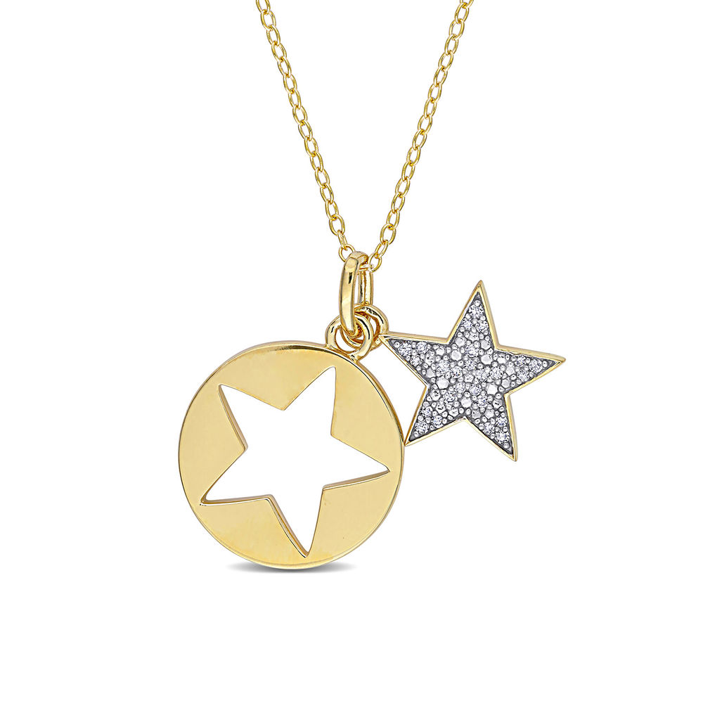 1/10 CT. T.W. Diamond Star Necklace in Gold Plated Sterling Silver