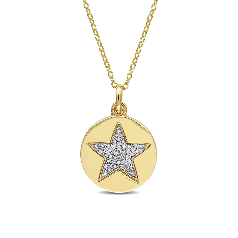 1/10 CT. T.W. Diamond Star Necklace in Gold Plated Sterling Silver - 1