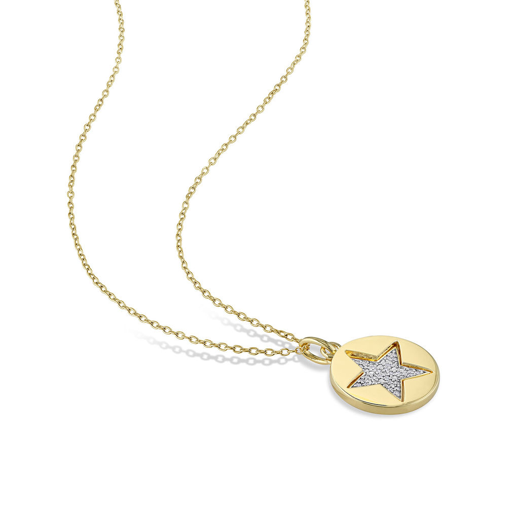 1/10 CT. T.W. Diamond Star Necklace in Gold Plated Sterling Silver - 2