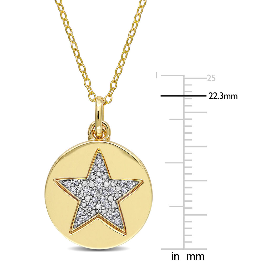1/10 CT. T.W. Diamond Star Necklace in Gold Plated Sterling Silver - 5