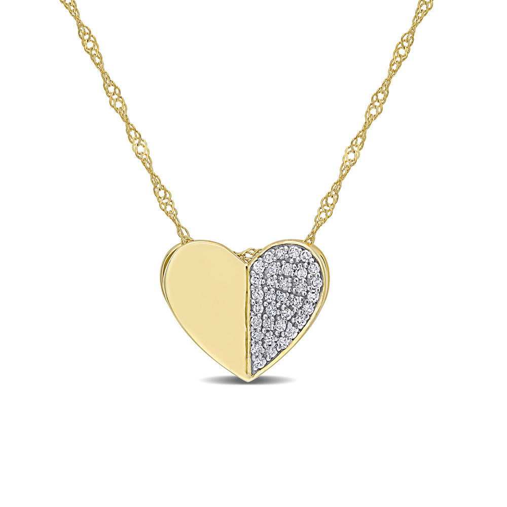 1/10 CT. T.W. Diamond Laser-Cut Heart Necklace in 10k Yellow Gold
