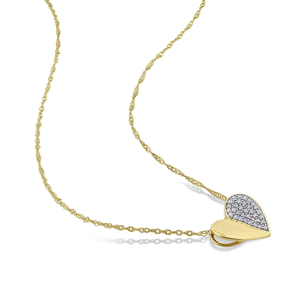 1/10 CT. T.W. Diamond Laser-Cut Heart Necklace in 10k Yellow Gold - 1