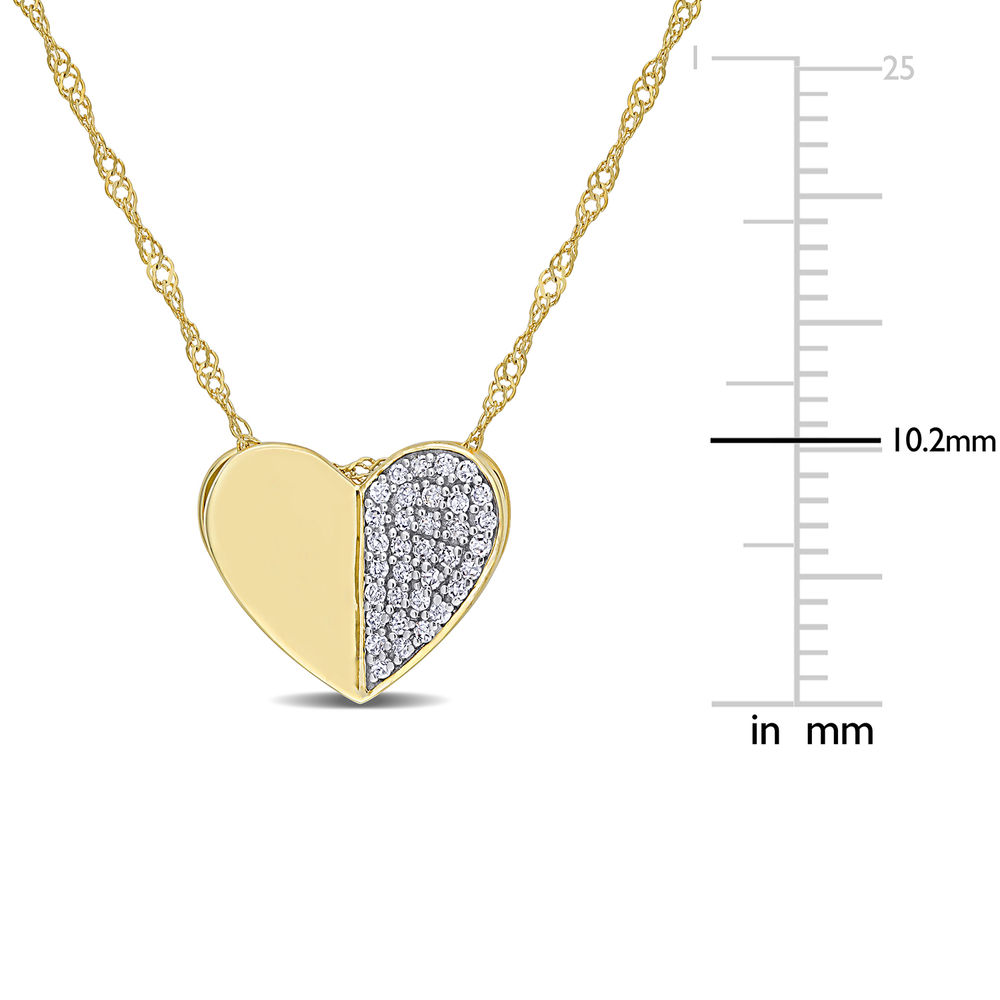 1/10 CT. T.W. Diamond Laser-Cut Heart Necklace in 10k Yellow Gold - 5