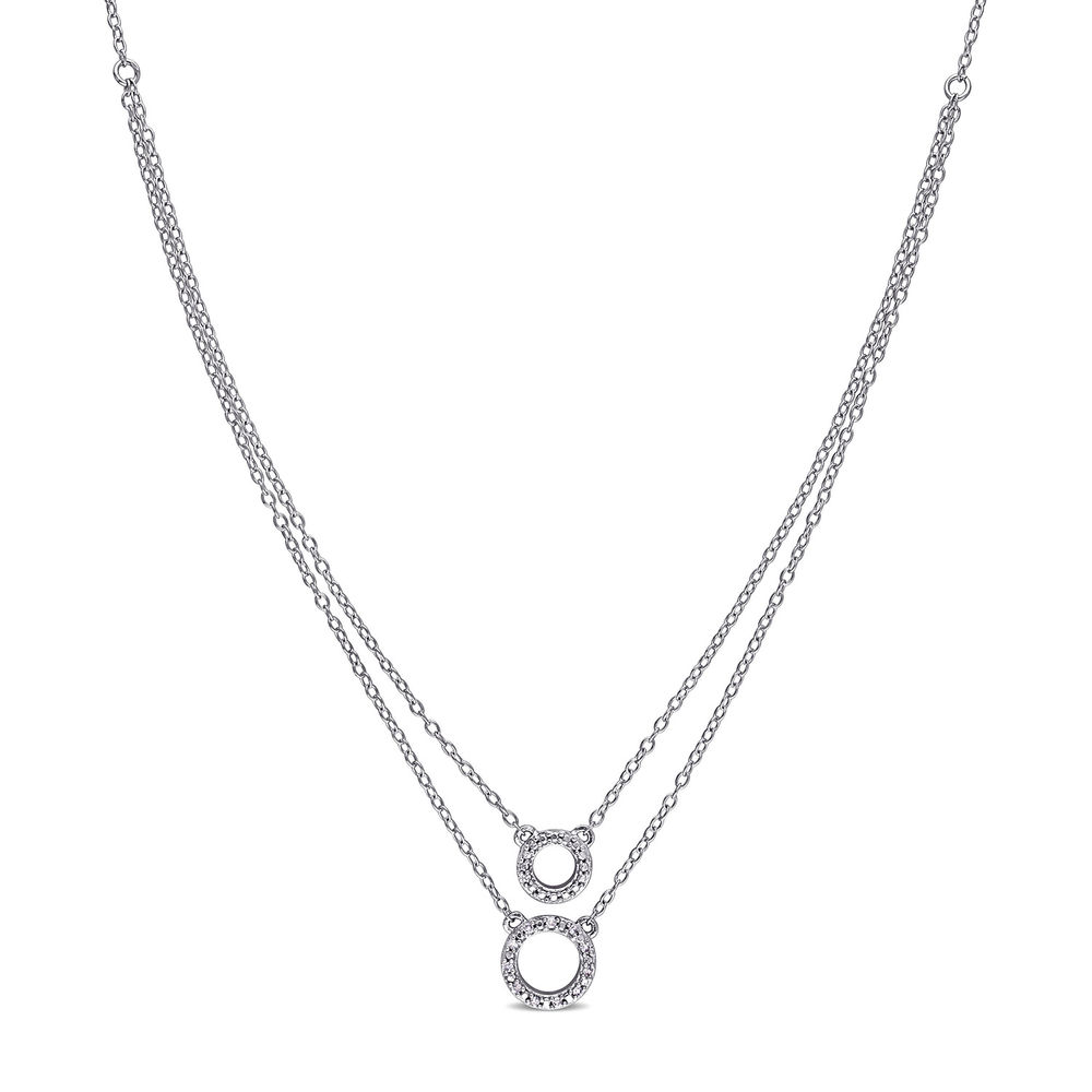 2 Layer Necklace with Pettit Circle Pendants in Sterling Silver with Diamonds