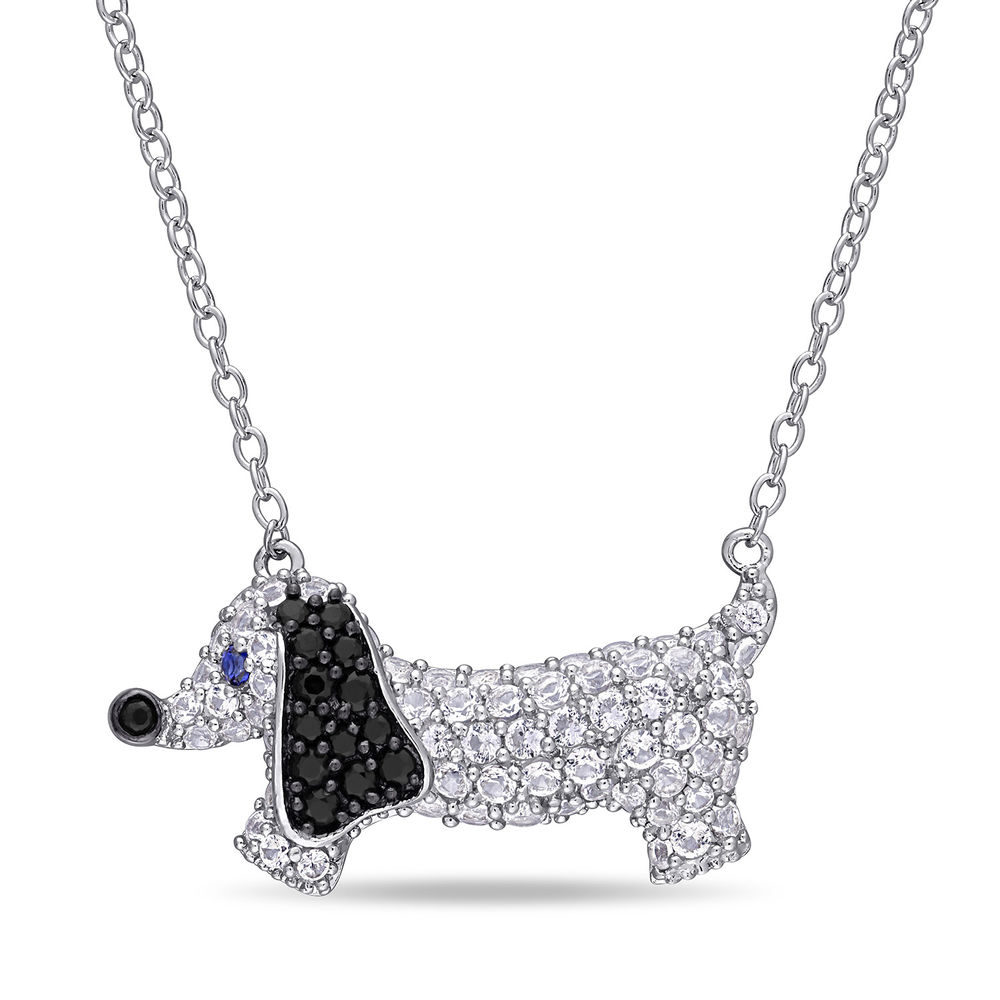 Dog Necklace with Lab-Created Blue and White Sapphire & Black Spinel in Sterling Silver