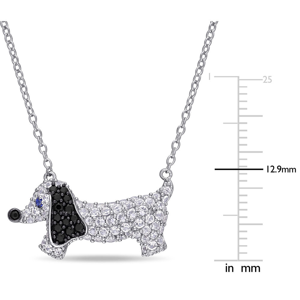 Dog Necklace with Lab-Created Blue and White Sapphire & Black Spinel in Sterling Silver - 4