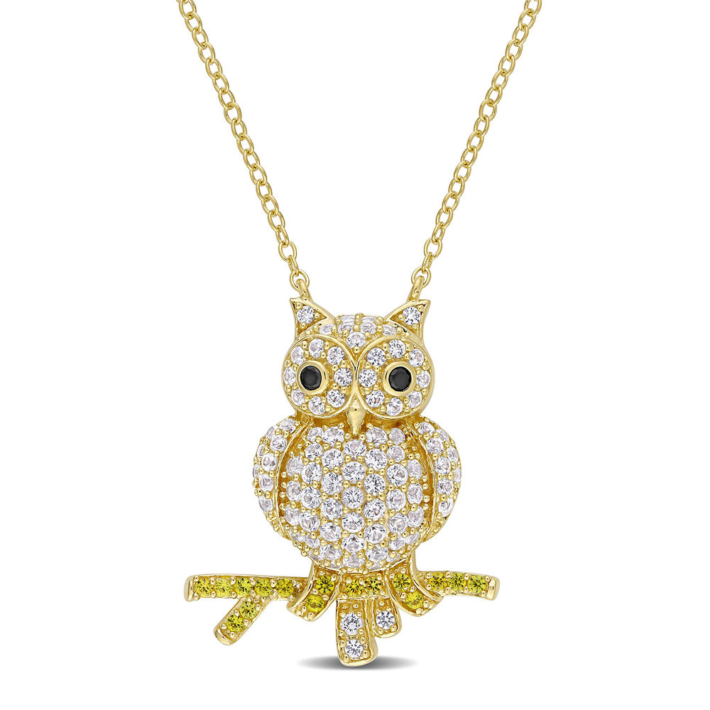 Owl Necklace with Lab-Created White and Yellow Sapphires & Black Spinel in Gold Plated Sterling Silver