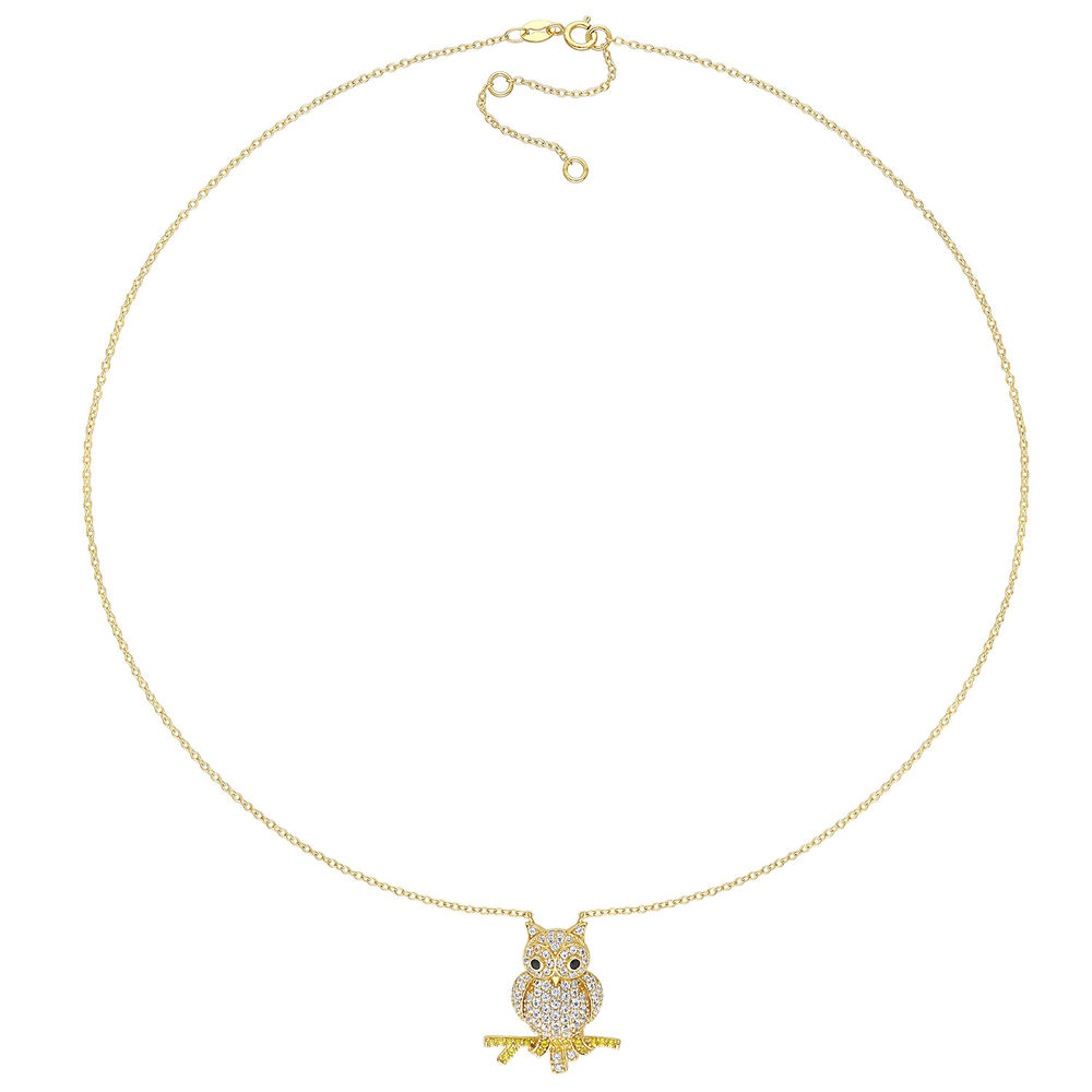 Owl Necklace with Lab-Created White and Yellow Sapphires & Black Spinel in Gold Plated Sterling Silver - 1