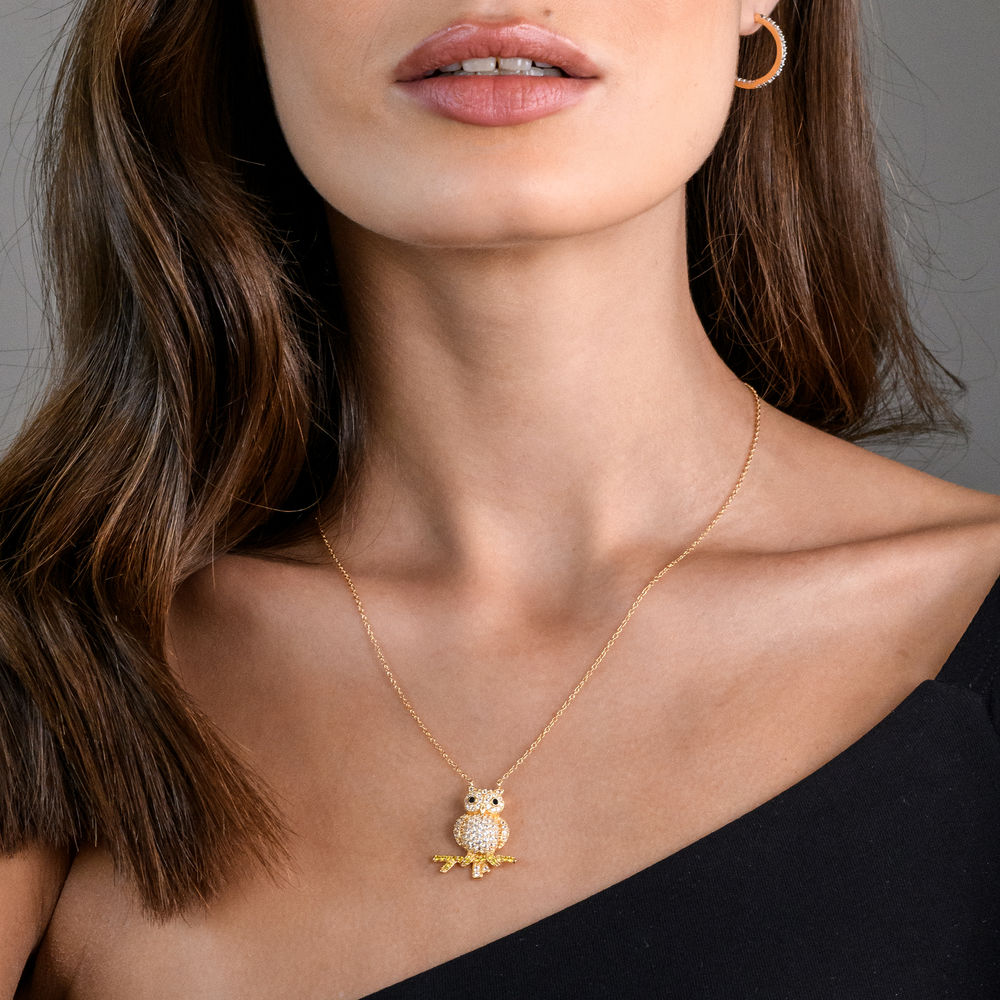 Owl Necklace with Lab-Created White and Yellow Sapphires & Black Spinel in Gold Plated Sterling Silver - 2
