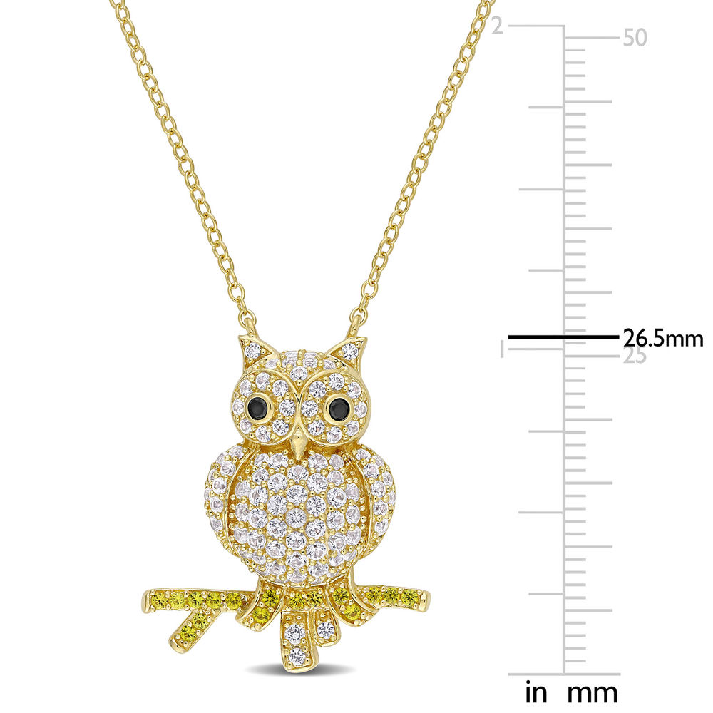 Owl Necklace with Lab-Created White and Yellow Sapphires & Black Spinel in Gold Plated Sterling Silver - 4
